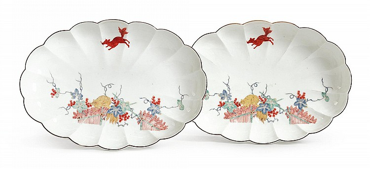 A PAIR OF MEISSEN 'EICHHÖRNCHEN' PATTERN SCALLOPED OVAL DISHES CIRCA 1740 |