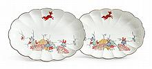 A PAIR OF MEISSEN 'EICHHÖRNCHEN' PATTERN SCALLOPED OVAL DISHES<BR>CIRCA 1740 |