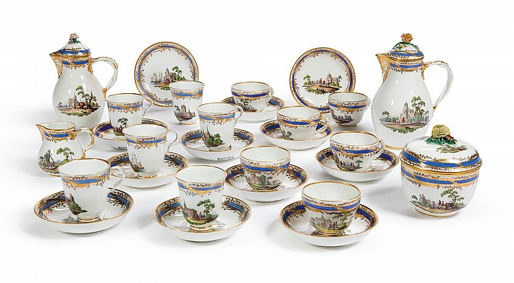 A VIENNA PORCELAIN PART TEA AND COFFEE SERVICE<BR>CIRCA 1780 |