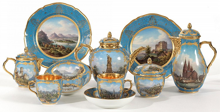 A KPM BLUE-GROUND TOPOGRAHICAL PART TEA SERVICE<BR>CIRCA 1830 |