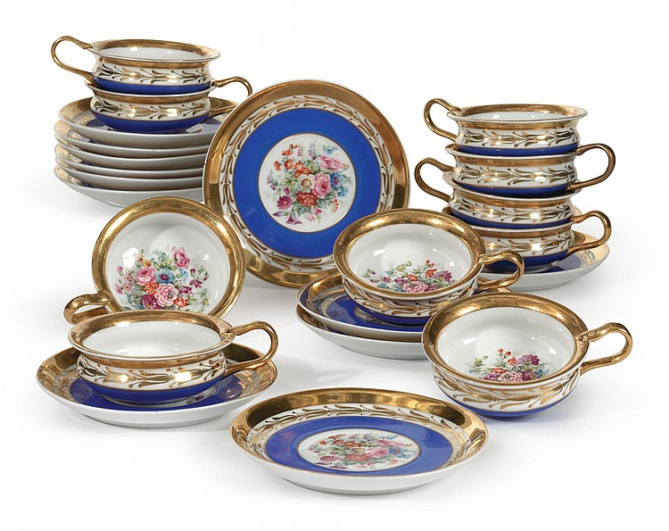A SET OF TWELVE RUSSIAN PORCELAIN BLUE-GROUND TEACUPS AND SAUCERS<BR>GARDNER MANUFACTORY, VERBILKI, CIRCA 1870-1890 |