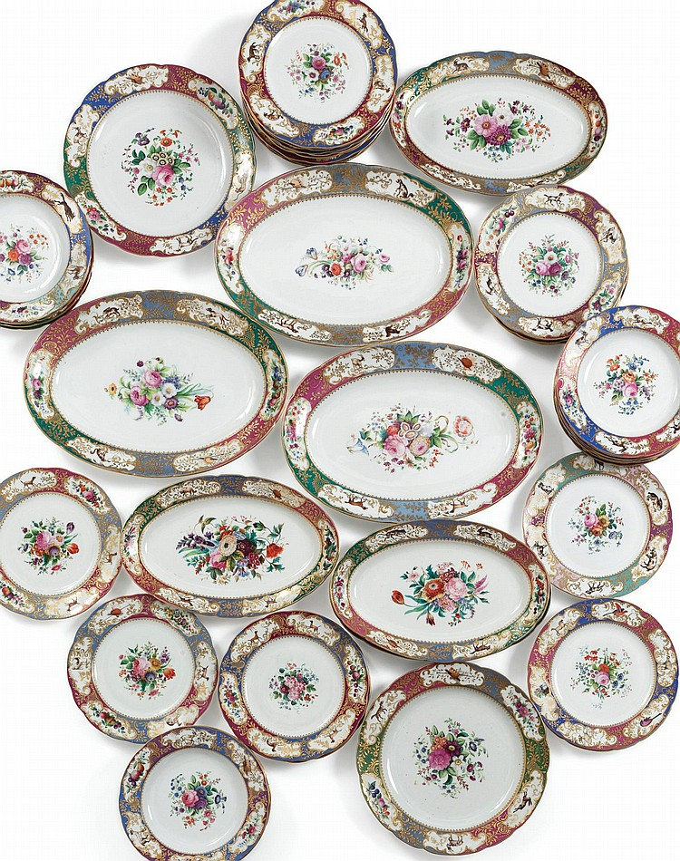 AN ASSEMBLED RUSSIAN PORCELAIN PART DINNER SERVICE FROM THE GRAND DUKE MICHAEL PAVLOVICH SERVICE IMPERIAL PORCELAIN MANUFACTORY, ST. PETERSBURG, PERIOD OF NICHOLAS I (1825-1855) |