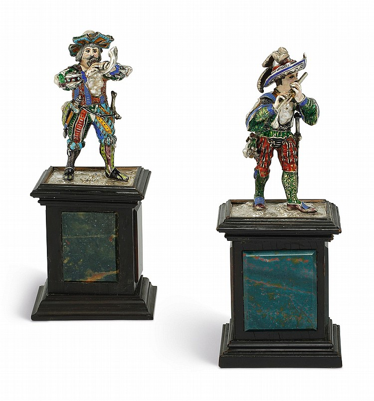 A PAIR OF SILVER, ENAMEL, AND PEARL FIGURES OF MUSICIANS, PROBABLY VIENNA, EARLY 20TH CENTURY |