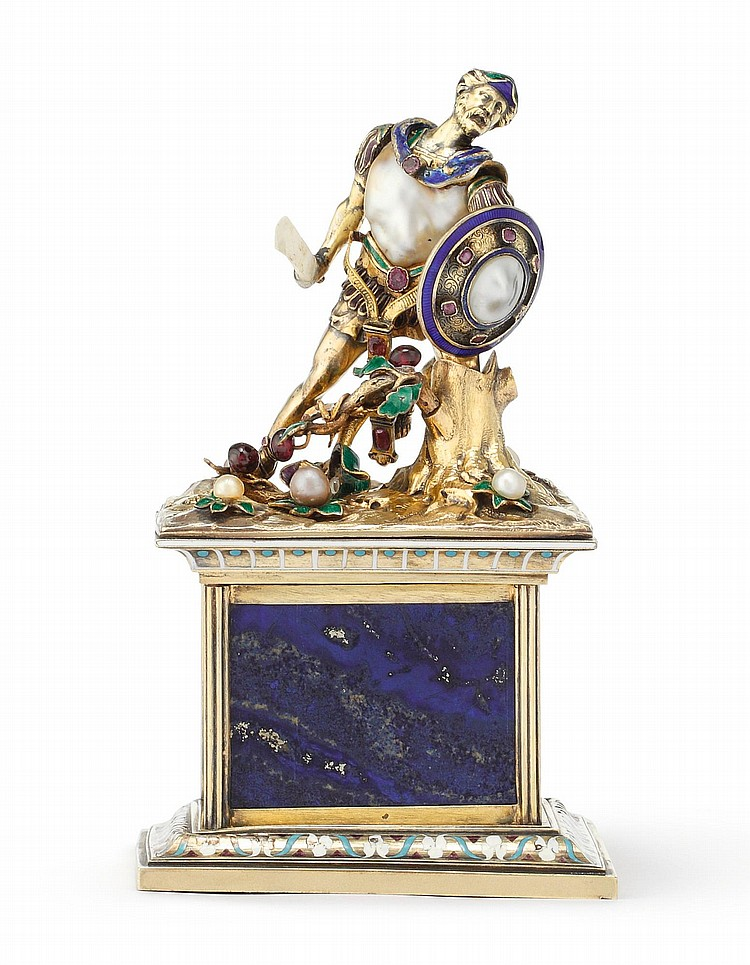 A FRENCH SILVER-GILT, PEARL, ENAMEL, AND HARDSTONE FIGURE OF A WARRIOR, FRÉDÉRIC RUDOLPHI, PARIS, CIRCA 1845-50 |