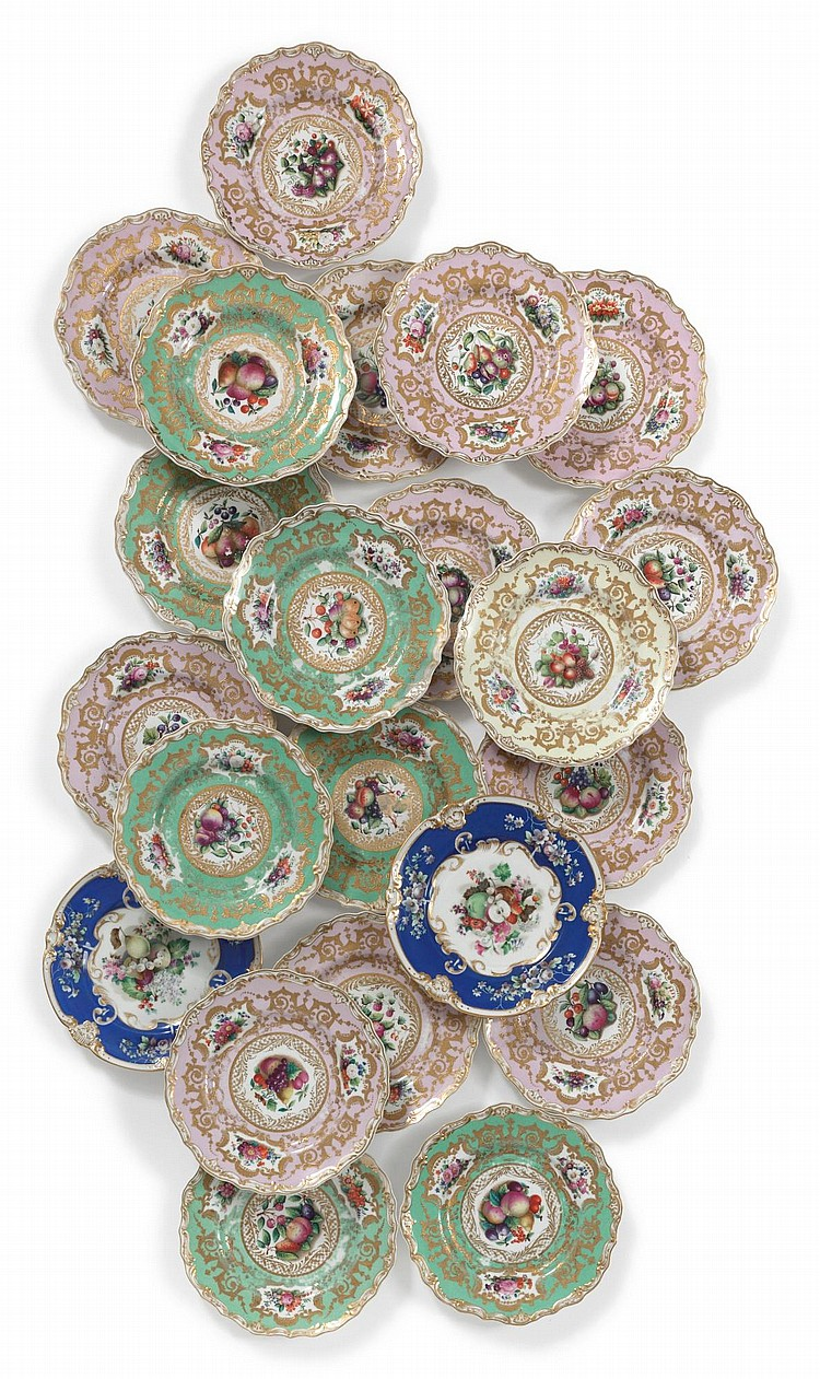 AN ASSEMBLED SET OF TWENTY-ONE RUSSIAN PORCELAIN CABINET PLATES<BR>IMPERIAL PORCELAIN MANUFACTORY, ST. PETERSBURG, PERIOD OF NICHOLAS I (1825-1855) |