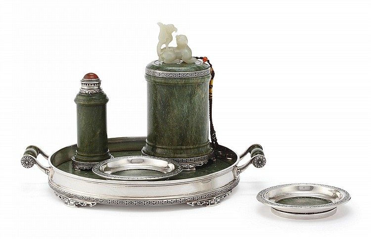 AN AMERICAN SILVER AND SPINACH JADE SMOKING SET, LEBKUECHER & CO., NEWARK, NJ FOR YAMANAKA & CO., NEW YORK, CIRCA 1900 |