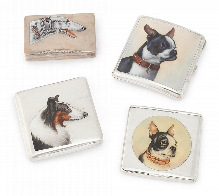 FOUR DOG-THEMED SILVER CIGARETTE CASES, 1907 AND LATER |