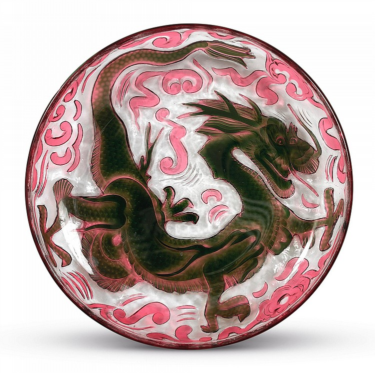 AN ENGLISH TWO-COLOUR CAMEO GLASS CHINOISERIE DISH<BR>LATE 19TH CENTURY |