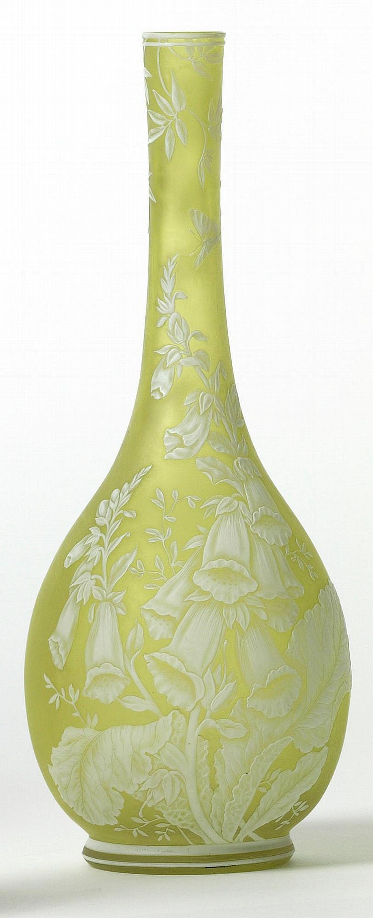 A THOMAS WEBB TWO-COLOUR CAMEO GLASS BOTTLE VASE<BR>CIRCA 1890 |
