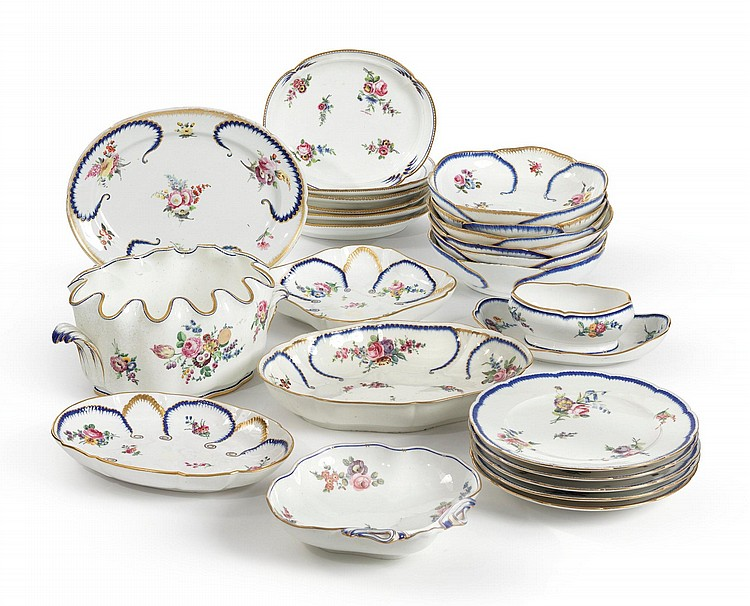 AN ASSEMBLED SÈVRES PART DINNER SERVICE CIRCA 1765-84 |