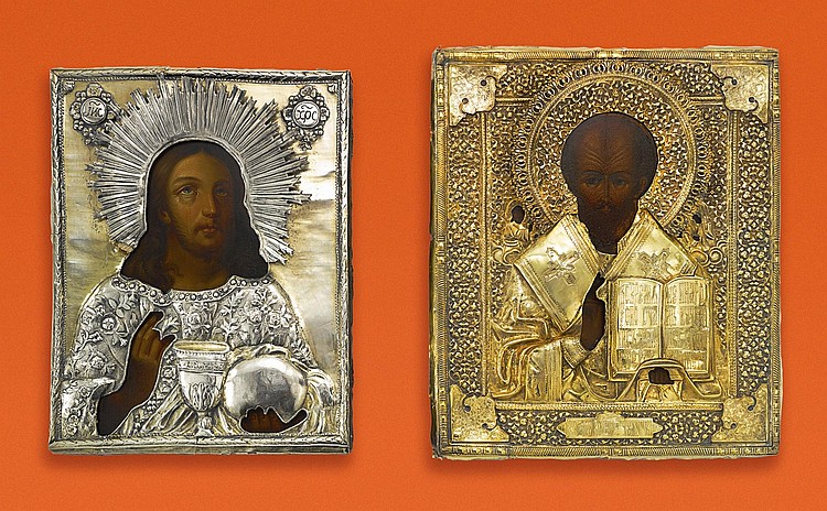 TWO RUSSIAN ICONS OF CHRIST AND SAINT NICHOLAS THE WONDERWORKER WITH SILVER OKLADS, ONE MAKER'S MARK VK, MOSCOW, 1895 |