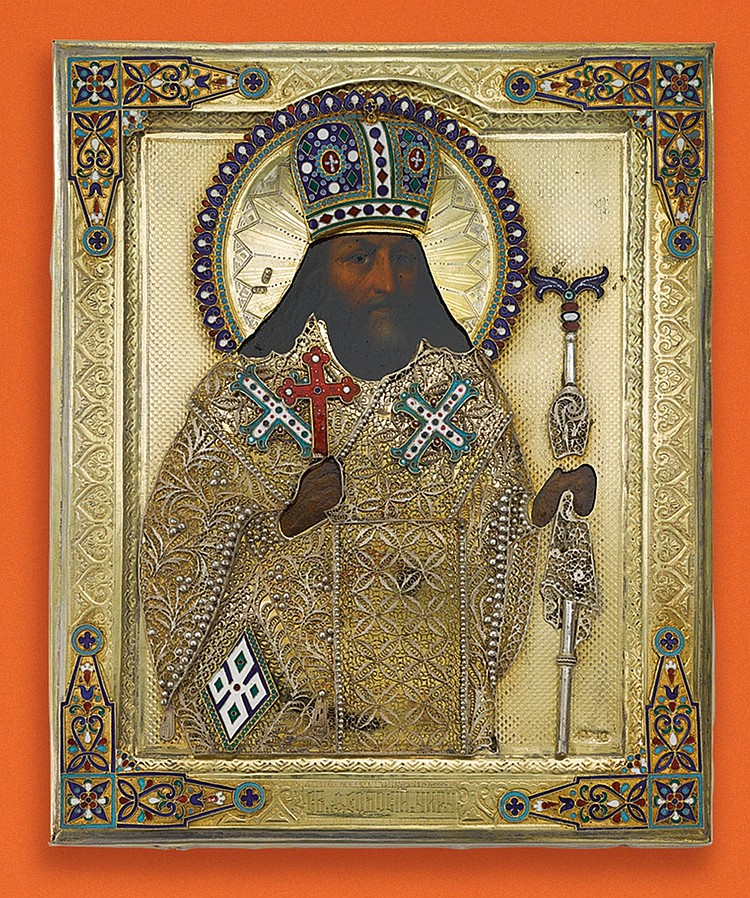 A RUSSIAN ICON OF SAINT FEODOSII, ARCHBISHOP OF CHERNIGOV WITH SILVER-GILT AND ENAMEL OKLAD, MOSCOW, BEFORE 1890 |