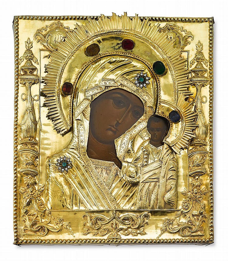 A RUSSIAN ICON OF THE KAZAN MOTHER OF GOD WITH SILVER-GILT AND ENAMEL OKLAD, CIRCA 1800 |