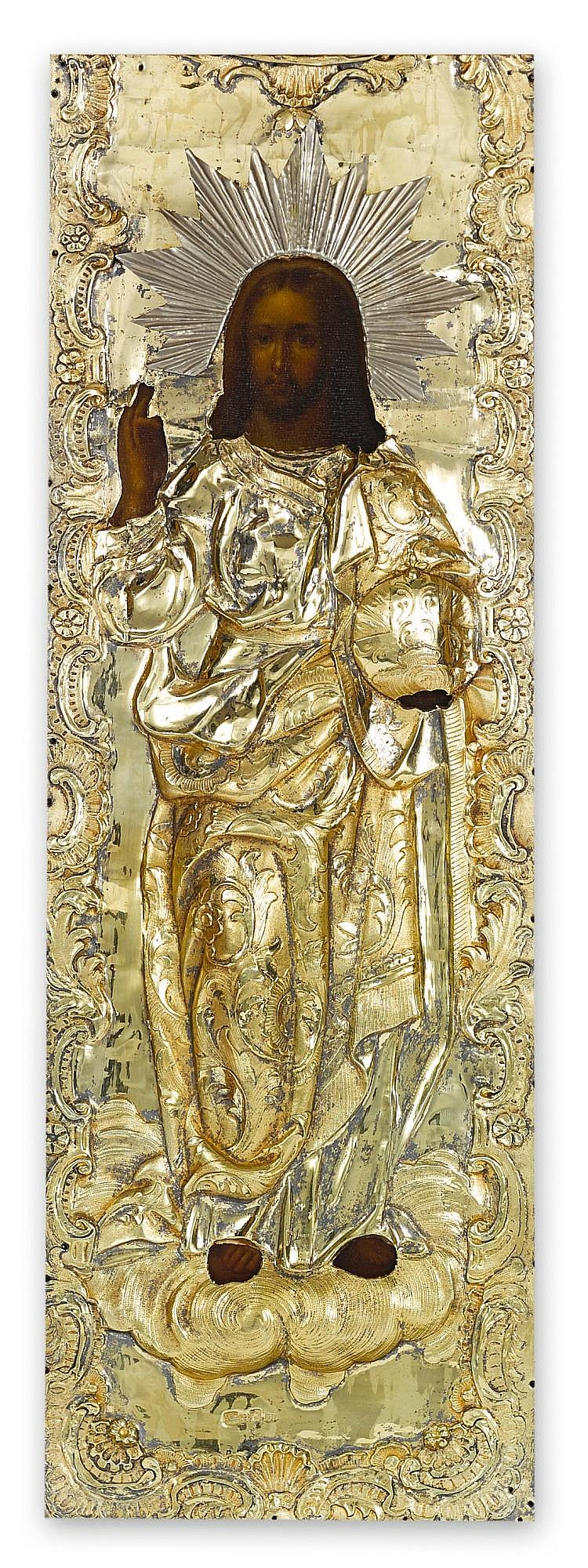 A RUSSIAN ICON OF CHRIST WITH SILVER-GILT OKLAD, MOSCOW, 1849 |