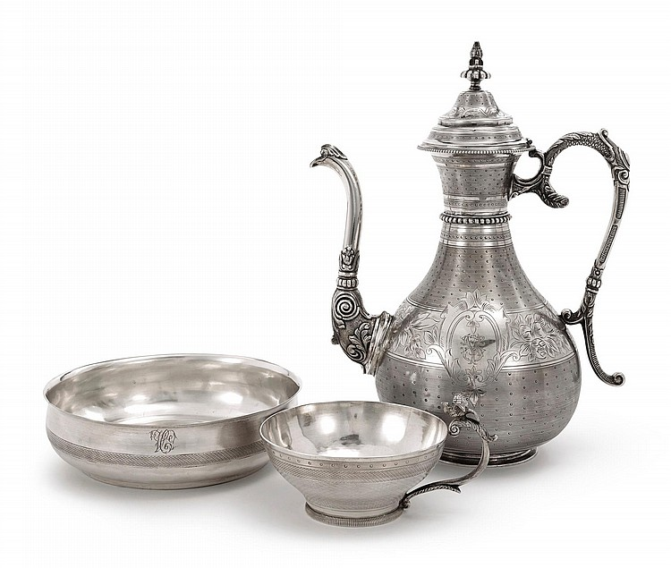 A TURKISH SILVER COFFEE POT, CUP, AND BOWL, CIRCA 1880-90 |