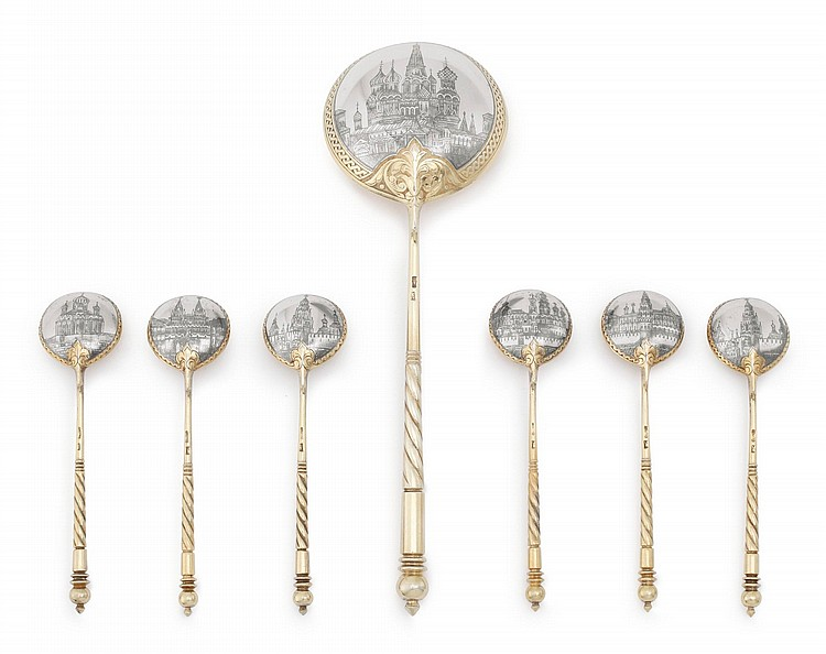 A SET OF SEVEN RUSSIAN SILVER-GILT AND NIELLO SPOONS, MARIA SOKOLOVA, MOSCOW, 1899-1908 |