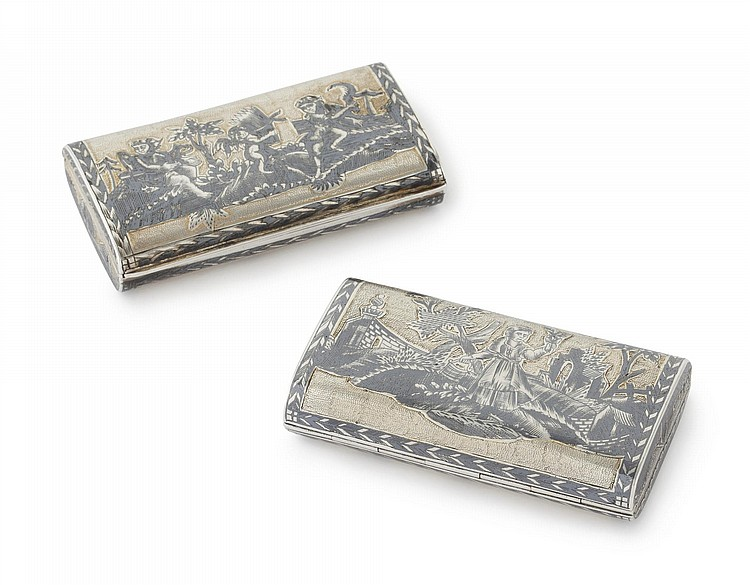 TWO RUSSIAN SILVER-GILT AND NIELLO SNUFF BOXES, VASILY POPOV, MOSCOW, CIRCA 1816 |