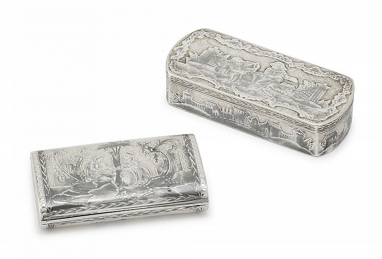 TWO RUSSIAN SILVER-GILT AND NIELLO SNUFF BOXES, MOSCOW, LATE 18<SUP>TH</SUP> CENTURY |