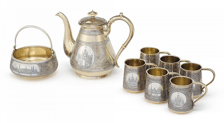 A RUSSIAN SILVER-GILT AND NIELLO COFFEE SERVICE, VASILY SEMENOV, RETAILED BY OVCHINNIKOV, MOSCOW, 1878-1880 |
