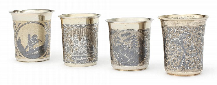 FOUR RUSSIAN SILVER-GILT AND NIELLO BEAKERS, MOSCOW, 1836-50 |