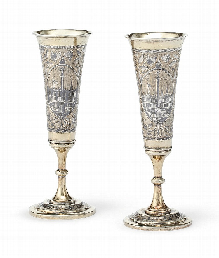 A PAIR OF RUSSIAN SILVER-GILT AND NIELLO FLUTES, MOSCOW, CIRCA 1840 |