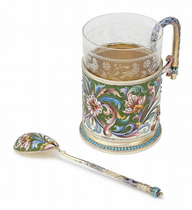 A RUSSIAN SILVER-GILT AND CLOISONNÉ ENAMEL TEA GLASS HOLDER AND SPOON, MARIA SEMENOVA, MOSCOW, 1899-1908 |