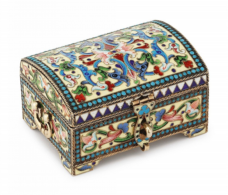 A RUSSIAN SILVER-GILT AND CLOISONNÉ ENAMEL CASKET, IVAN SALTYKOV, MOSCOW, 1899-1908 |