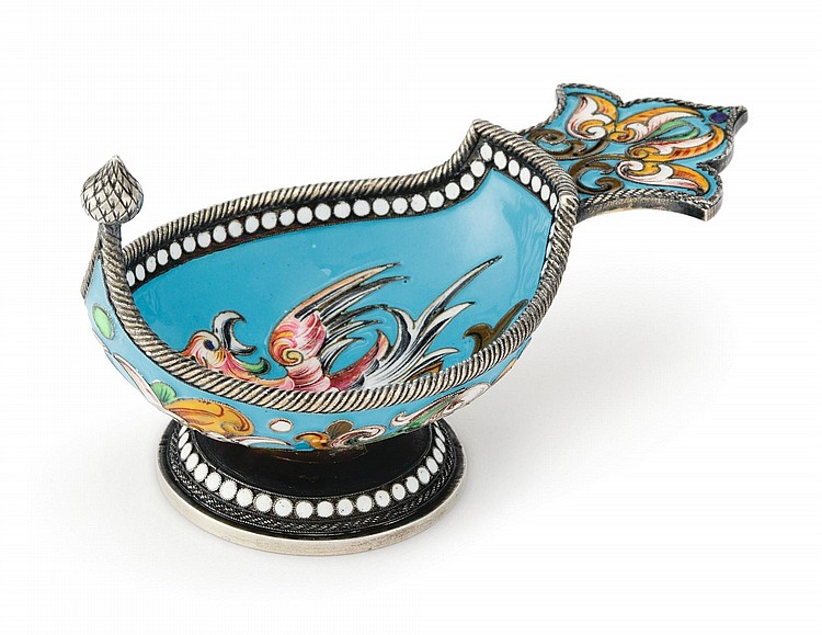 A RUSSIAN SILVER-GILT AND CLOISONNÉ ENAMEL KOVSH, MOSCOW, BEFORE 1899 |