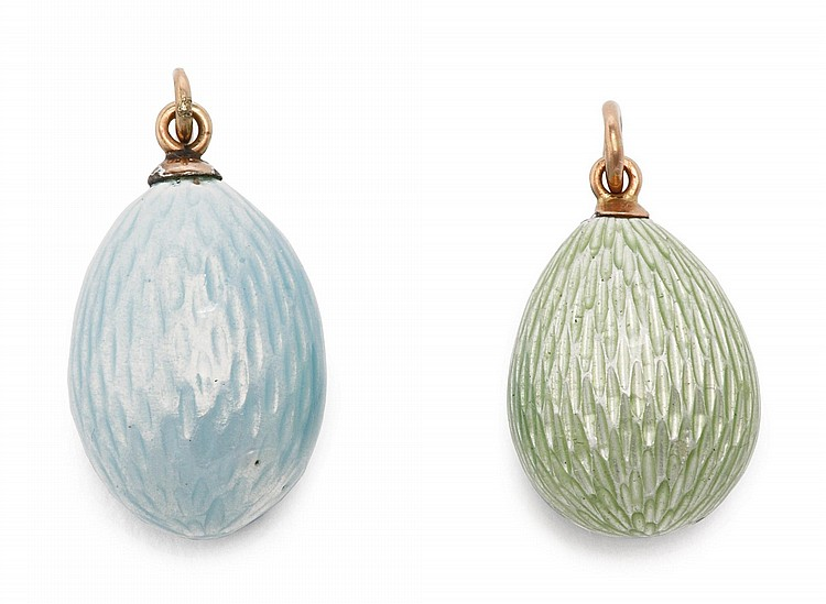 A FABERGÉ GOLD AND GUILLOCHÉ ENAMEL EGG PENDANT AND A RUSSIAN GOLD AND ENAMEL EGG PENDANT, ST. PETERSBURG, CIRCA 1900 |