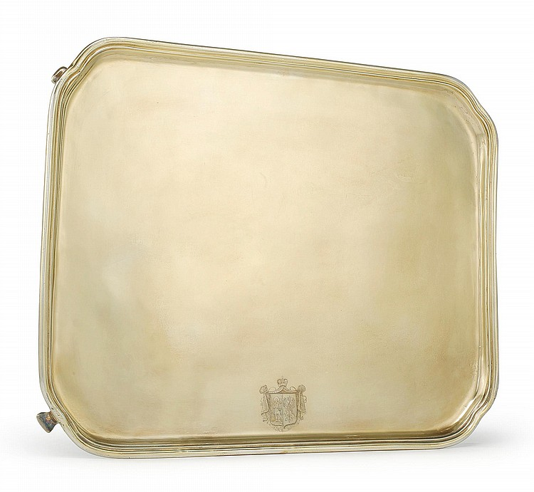 A RUSSIAN SILVER-GILT RECTANGULAR TRAY, MAKER'S MARK HN (POSTNIKOVA-LOSSEVA #1562), ST. PETERSBURG, CIRCA 1790 |