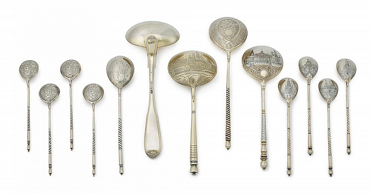 A GROUP OF RUSSIAN SILVER-GILT AND NIELLO SPOONS, MOST MOSCOW, 19TH CENTURY |