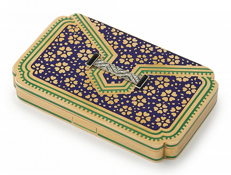 A FRENCH ART DECO GOLD, JEWELED AND ENAMEL POCKETBOOK-FORM VANITY CASE, CARTIER, PARIS, CIRCA 1927 |