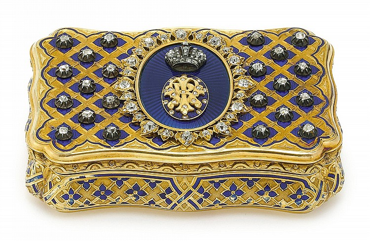 A NAPOLEON III GOLD, DIAMOND, AND ENAMEL IMPERIAL PRESENTATION SNUFFBOX WITH THE CYPHER OF QUEEN VICTORIA, MAURICE MAYER, PARIS, CIRCA 1855  