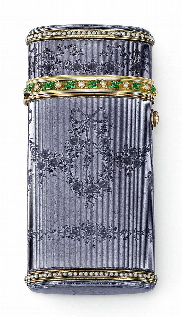 A FABERGÉ GEM-SET GOLD AND GUILLOCHÉ ENAMEL CIGARETTE CASE, WORKMASTER HENRIK WIGSTRÖM, ST. PETERSBURG, 1903/4-1908 |