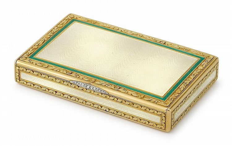 A FABERGÉ GEM-SET GOLD AND GUILLOCHÉ ENAMEL CIGARETTE CASE, WORKMASTER HENRIK WIGSTRÖM, ST. PETERSBURG, 1908-17 |