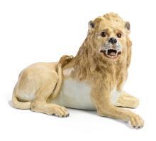 A MEISSEN RECLINING FIGURE OF A LION<BR>CIRCA 1760 |