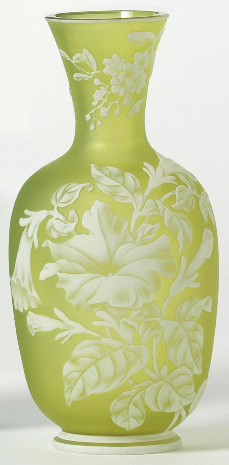 A THOMAS WEBB TWO-COLOUR CAMEO GLASS VASE<BR>CIRCA 1890 |