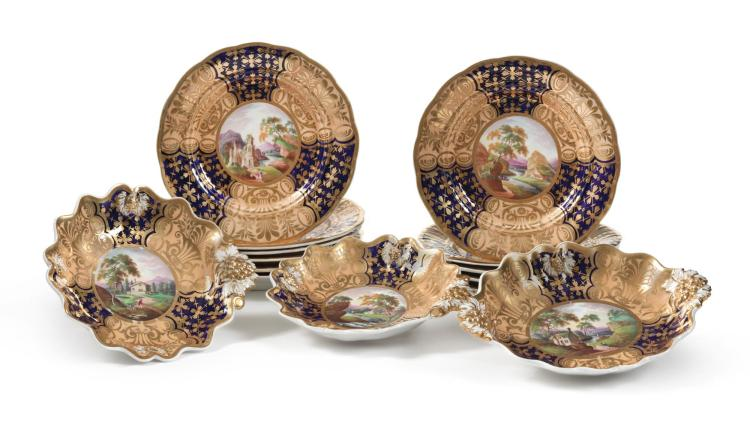 AN ENGLISH PORCELAIN TOPOGRAPHICAL PART DESSERT SERVICE<BR>CIRCA 1840 |