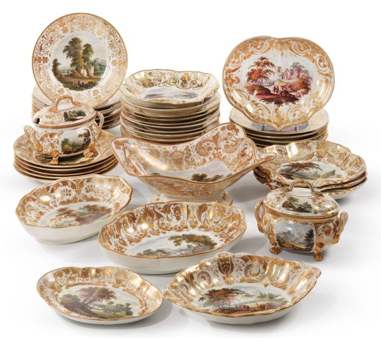 A DERBY TOPOGRAPHICAL PART DESSERT SERVICE CIRCA 1820 |
