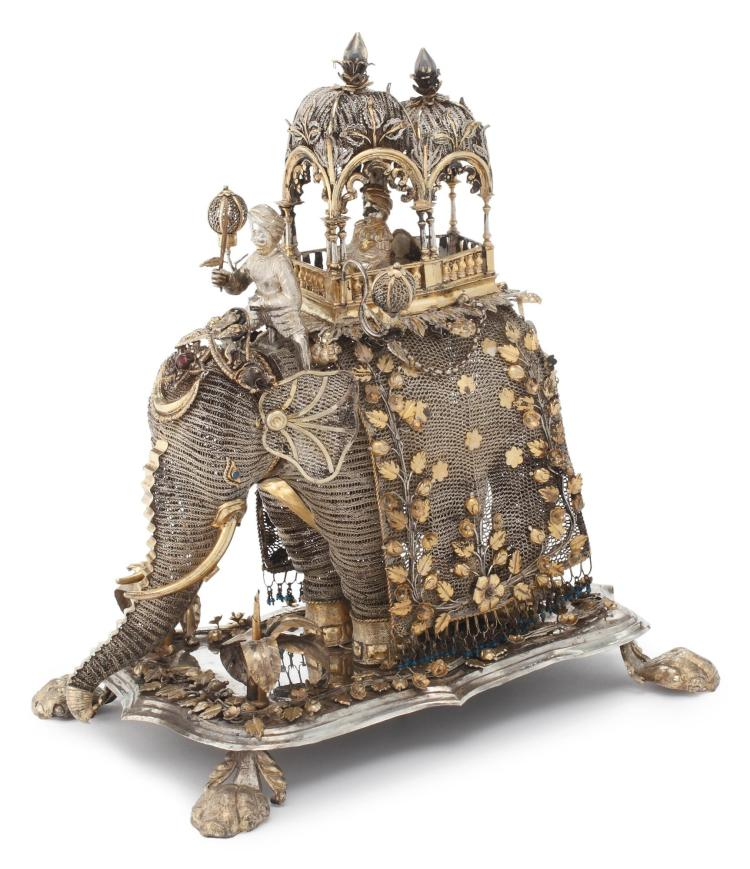 AN INDIAN SILVER AND PARCEL-GILT FILIGREE ELEPHANT, THIRD QUARTER 19TH CENTURY |
