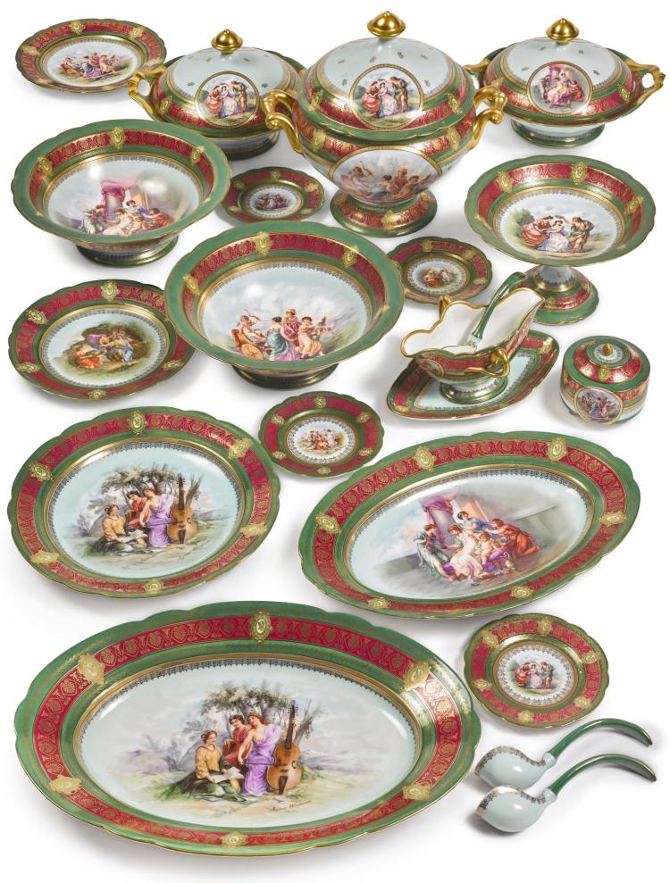 A VIENNA-STYLE GREEN-GROUND PART DINNER AND DESSERT SERVICE LATE 19TH / EARLY 20TH CENTURY |