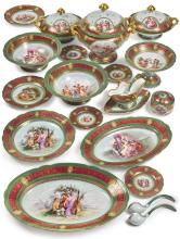 A VIENNA-STYLE GREEN-GROUND PART DINNER AND DESSERT SERVICE<BR>LATE 19TH / EARLY 20TH CENTURY |