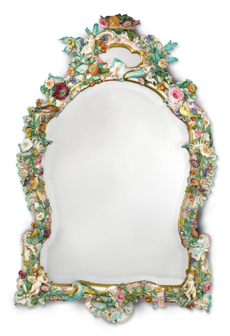 A MEISSEN FLOWER-ENCRUSTED LARGE MIRROR<BR>LATE 19TH CENTURY |