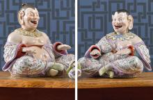 A PAIR OF MEISSEN LARGE FIGURES OF NODDING PAGODAS<BR>LATE 19TH CENTURY |