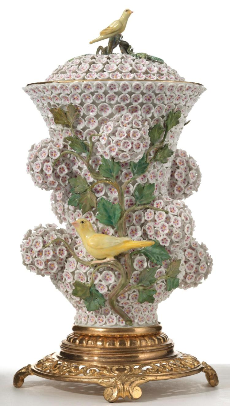 A MEISSEN ORMOLU-MOUNTED 'SCHNEEBALLEN' VASE AND COVER<BR>LATE 19TH CENTURY |