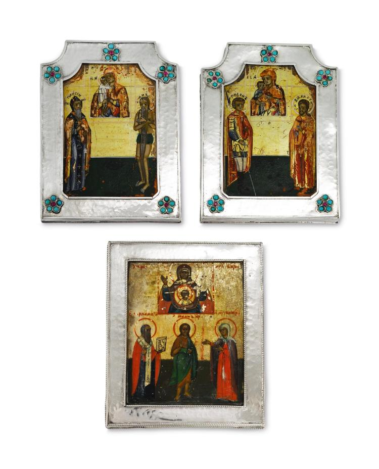 A GROUP OF SMALL ICONS, PROBABLY RUSSIAN |