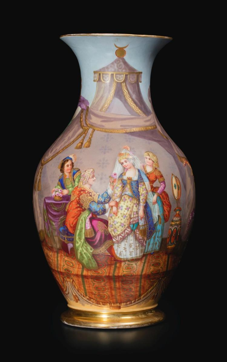 A PARIS PORCELAIN TURQUERIE VASE LATE 19TH CENTURY |
