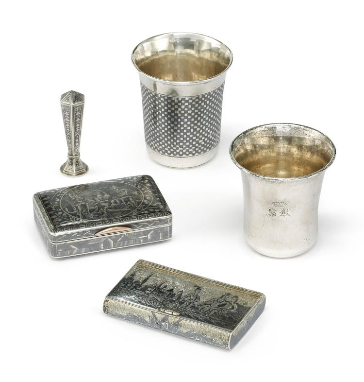 TWO RUSSIAN SILVER-GILT AND NIELLO FIGURAL SNUFFBOXES AND A BEAKER, LATE 18TH - EARLY 19TH CENTURY |