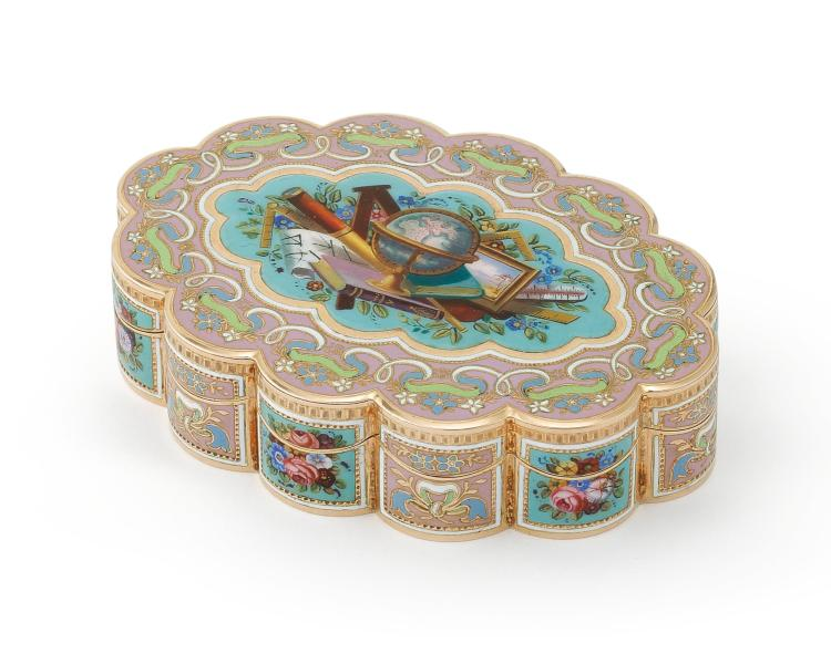 A SWISS ENAMELED GOLD SNUFFBOX FOR THE TURKISH MARKET, CIRCA 1830-40 |