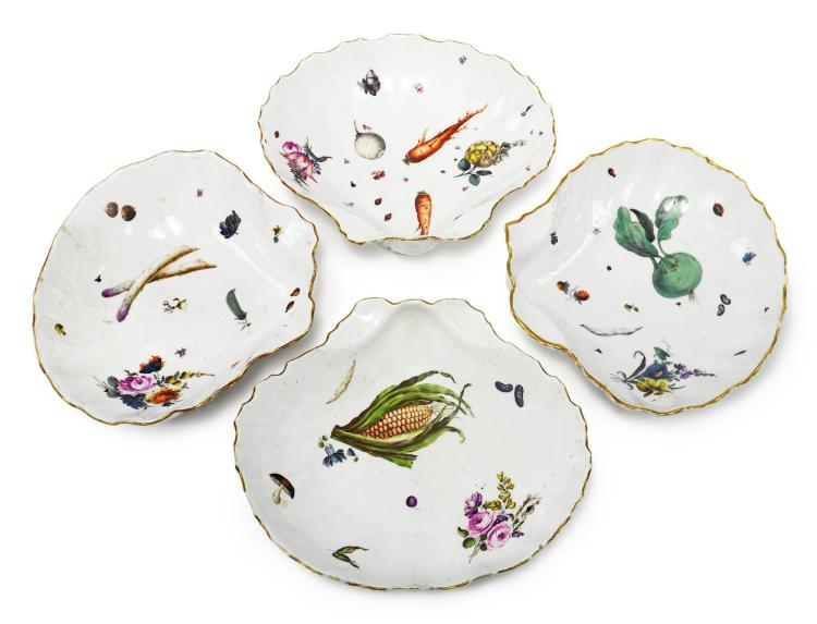 FOUR MEISSEN SHELL-SHAPED DISHES<BR>CIRCA 1750 |